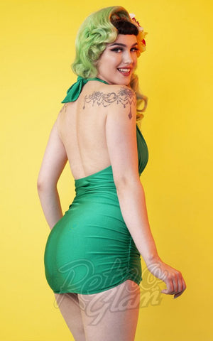 Collectif X Playful Promises Skirted Swimsuit in Green back
