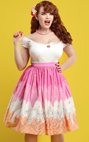 Collectif Jasmine Swing Skirt in Ice Cream Print model