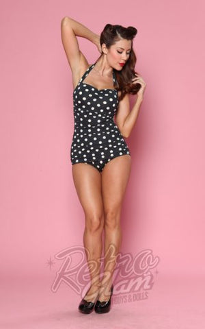 Esther Williams Classic Sheath Swimsuit in Black and White Polka Dot