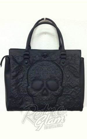 Loungefly Embossed Lattice Skull Tote