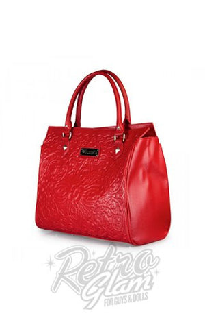 Loungefly Red on Red Lattice Skull Tote