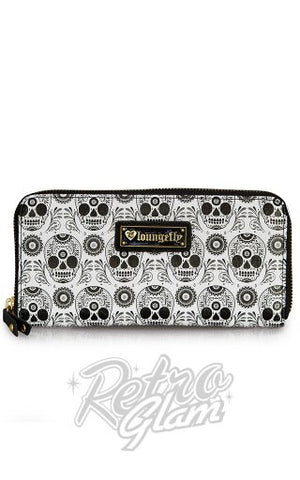 Loungefly Black and White Skull zip around Wallet