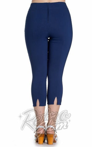 Hell Bunny Tina Capris in Navy Blue back