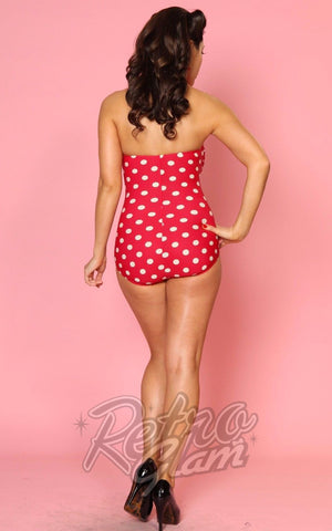 Esther Williams Classic Sheath Swimsuit in Red & White Polka Dot