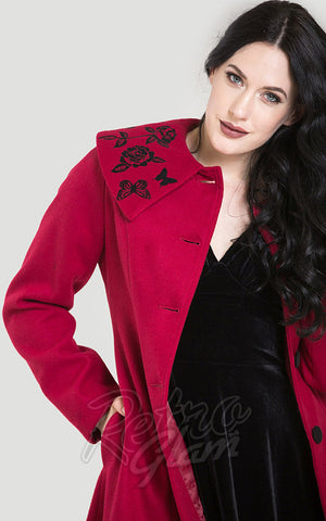 Hell Bunny Hermione Coat in Red detail