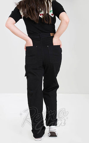 Hell Bunny Carpenter Black Denim Jeans back