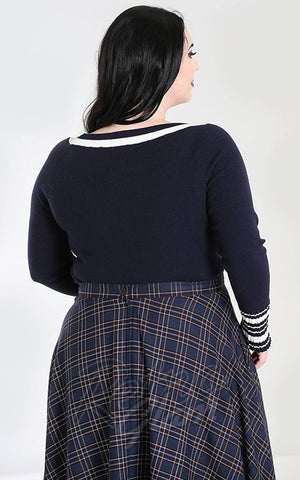 Hell Bunny Elodie Jumper in Navy curvy back