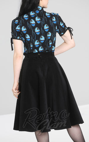 Hell Bunny Jefferson Corduroy Skirt in Black back