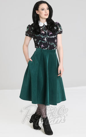Hell Bunny Jefferson Corduroy Skirt in Green