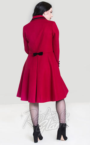 Hell Bunny Olivia Coat in Red back