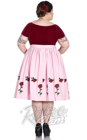 Hell Bunny Rosa Rossa 50s Skirt in Pink Curvy back