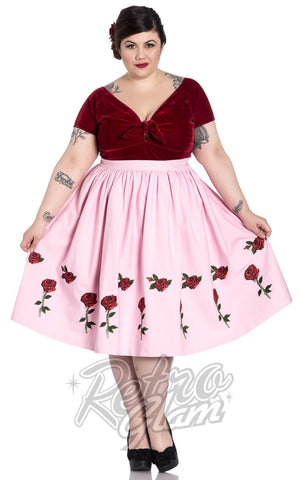 Hell Bunny Rosa Rossa 50s Skirt in Pink Curvy