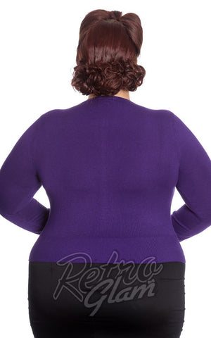 Hell Bunny Curvy Paloma Cardigan in Purple Back