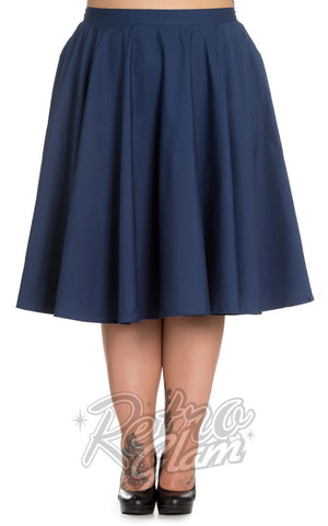 Hell Bunny Plus Size Paula 50s Skirt in Navy