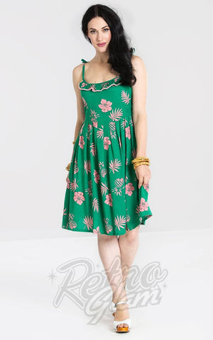 Hell Bunny Pineapple Tropicana Dress in Green