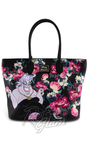 Loungefly Disney's Villians Ursela painted Floral Tote Bag front