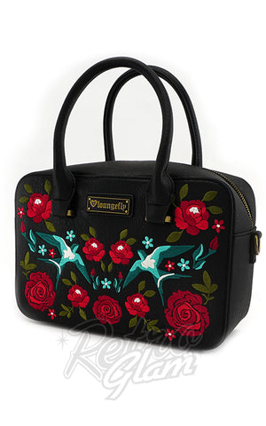 Loungefly Swallows & Roses Handbag side