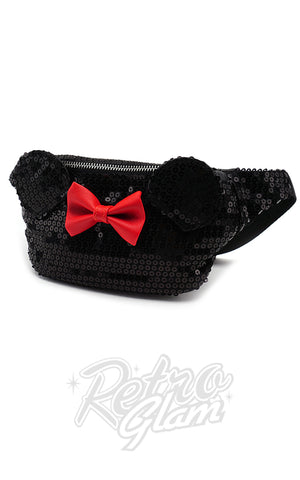 Loungefly Disney's Minnie Mouse Fanny Pack in Black Sequins side