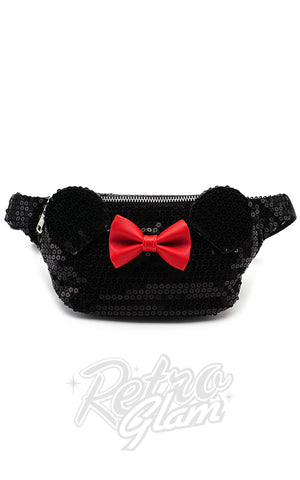Loungefly Disney's Minnie Mouse Fanny Pack in Black Sequins
