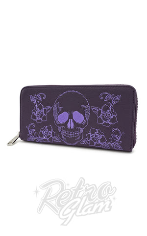 Loungefly Skull & Roses Purple Wallet side