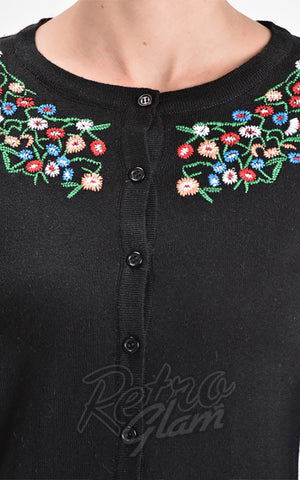 Mak Floral Embroidered Cardigan in Black detail