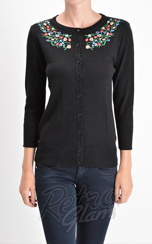 Mak Floral Embroidered Cardigan in Black