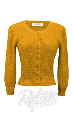 Mak Cropped Textured Cardigan in Honey