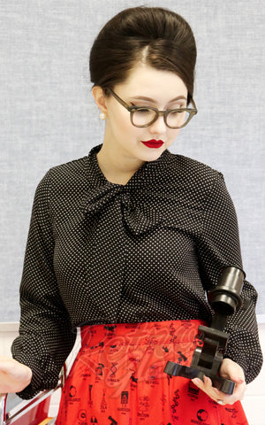 Retrolicious Longsleeve Bow Top in Black & White Polka Dot