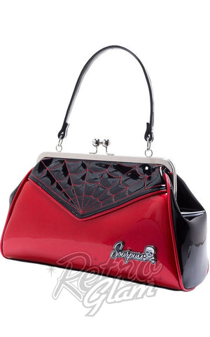 Sourpuss Backseat Baby Spiderweb Purse in Black & Red side