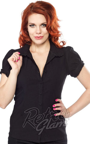 Sourpuss Lolita button down Top in Back with princess sleeves and scalloped edges front