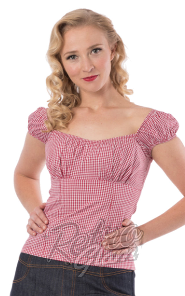 Steady Daisey Top in Red Gingham