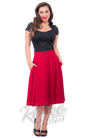 Steady Clothing High Waisted Thrills Skirt in Red