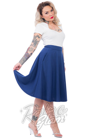 Steady Clothing Pin up High Waisted Thrills Skirt in Royal Blue