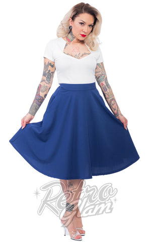 Steady Clothing High Waisted Thrills Skirt in Royal Blue