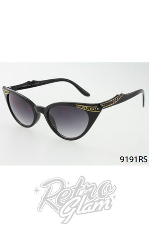 Cat Eye Sunglasses in Black with Gold Trim