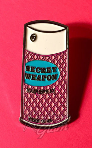 Vixen by Micheline Pitt Secret Weapon pink Hairspray Lapel Pin