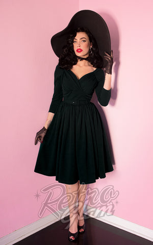 Vixen by Micheline Pitt Starlet Dress in Black front on shoulders