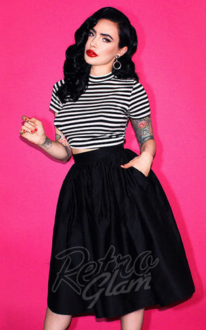 Vixen by Micheline Pitt Vixen gathered Skirt in Black with pockets front