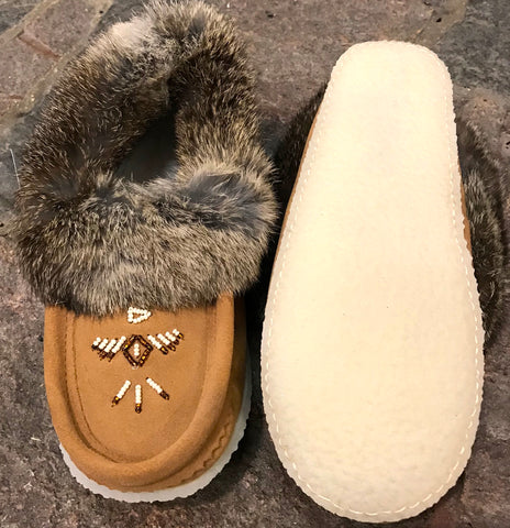 Classic Fur Moccasin with Rubber Sole