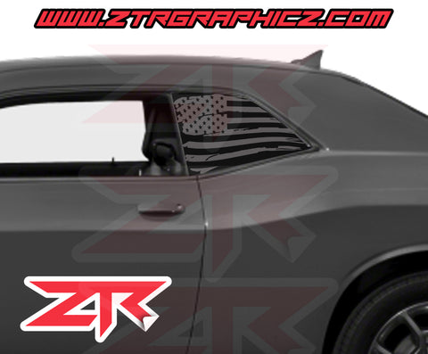Dodge Challenger Distressed American Flag Window Decal
