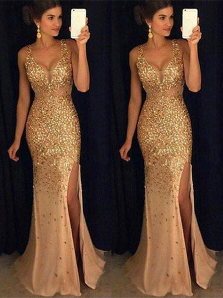 Sexy Sweetheart Neck Golden Mermaid Prom Dress with Slit, Mermaid Formal Dress, Graduation Dress