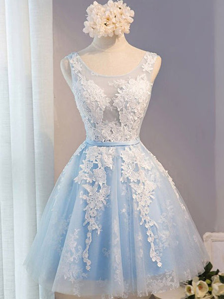 A Line Round Neck Short Blue Prom Dress with White Lace, Lace Formal Dresses, Short Graduation Dresses/Homecoming Dresses
