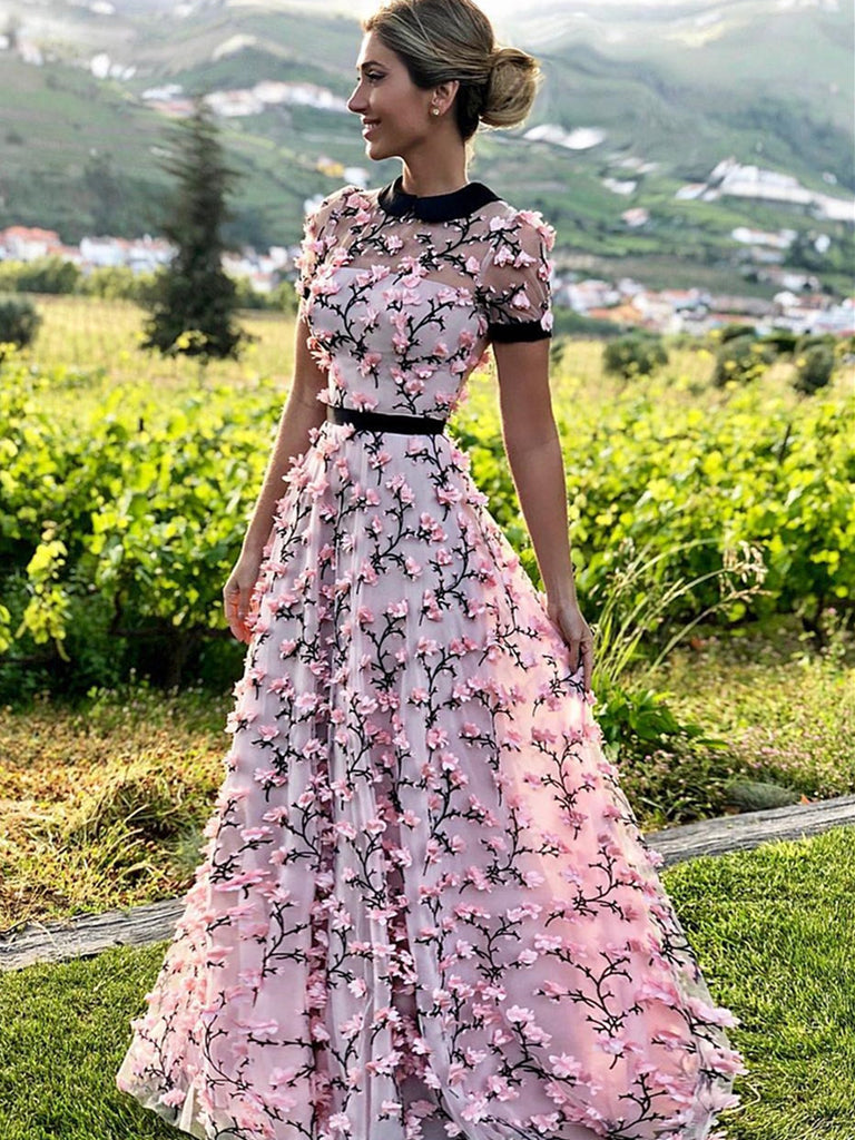 A Line Round Neck Short Sleeves 3D Flower Prom Dresses, 3D Flower Formal Dresses, Graduation Dresses