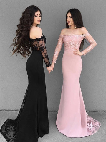 Custom Made Black/Pink Mermaid Long Sleeves Lace Prom Dresses, Lace Mermaid Bridesmaid Dresses, Formal Dresses