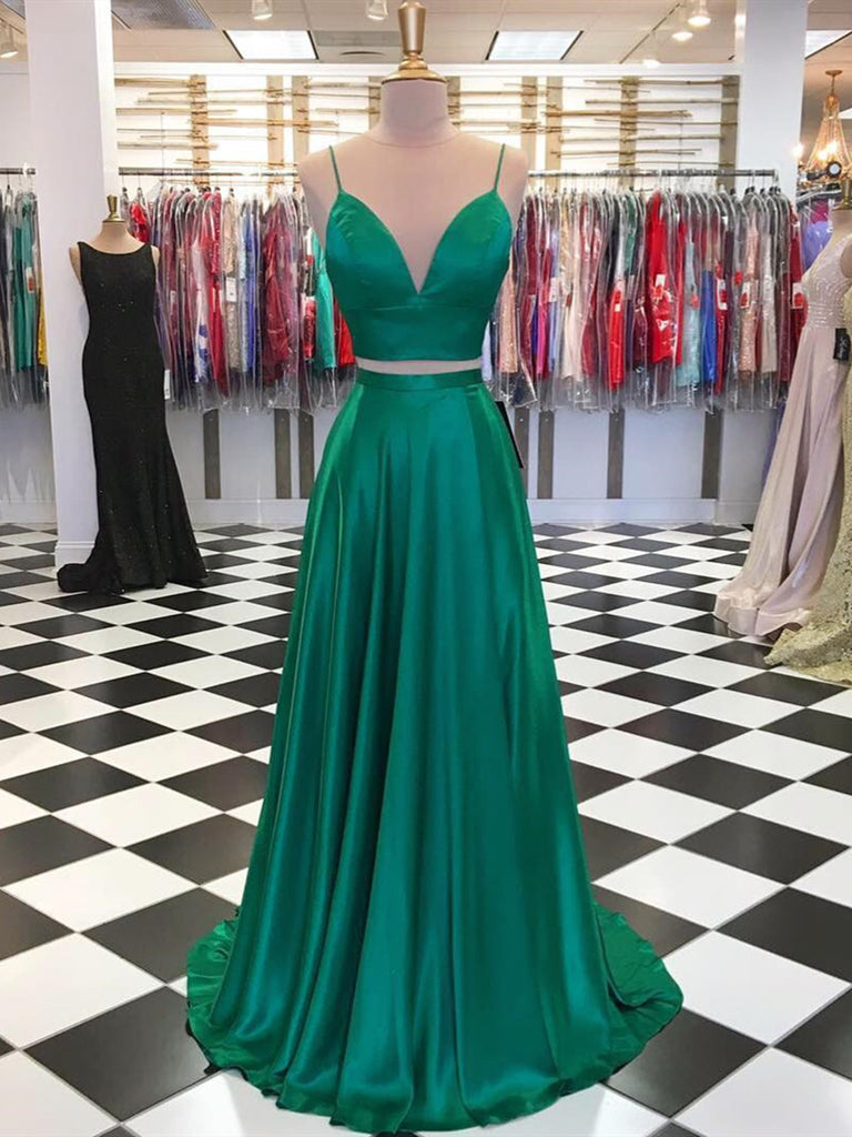 A Line 2 Pieces Green Prom Dresses, 2 Pieces Green Formal Graduation Evening Dresses
