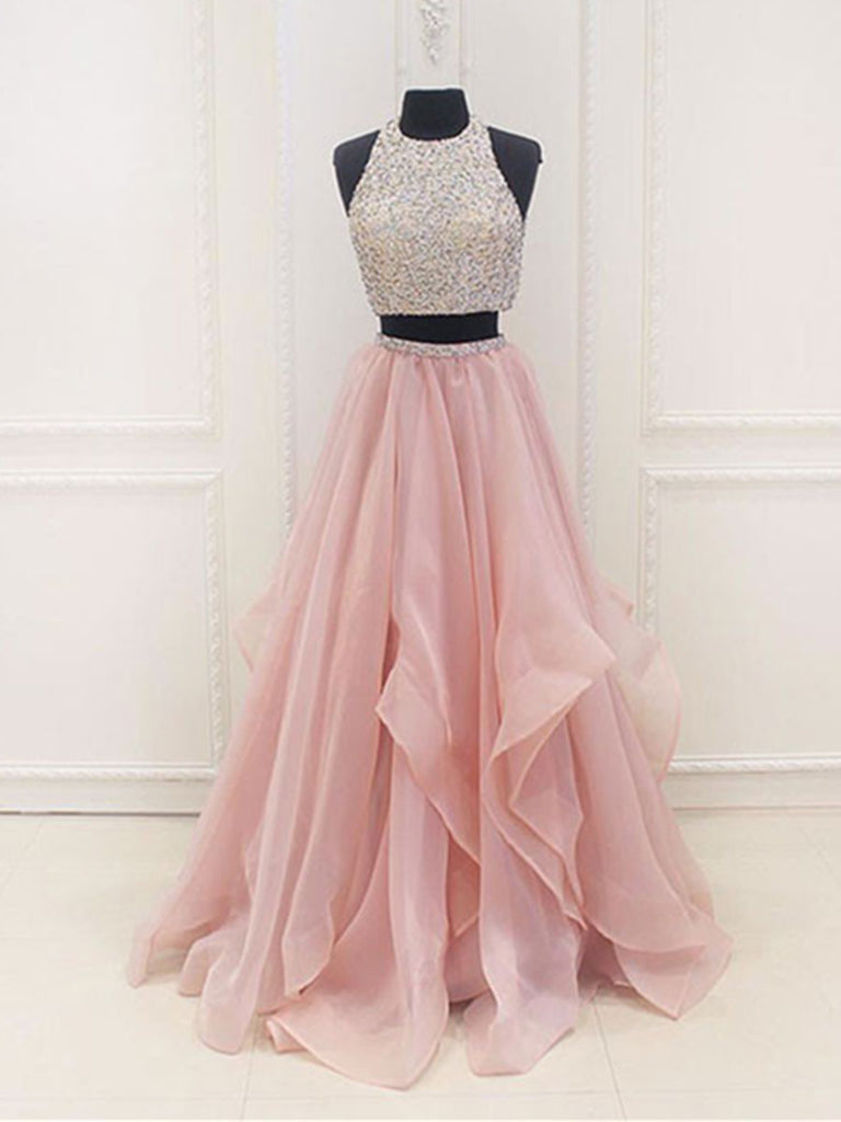 Custom Made A Line Round Neck 2 Pieces Pink Prom Dresses, 2 Pieces Pink Formal Dresses