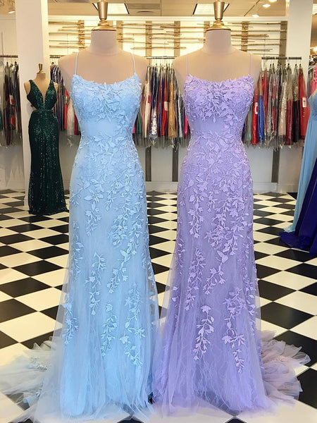 Purple/Blue Mermaid Backless Lace Prom Dresses, Purple/Blue Mermaid Backless Lace Formal Graduation Evening Dreses