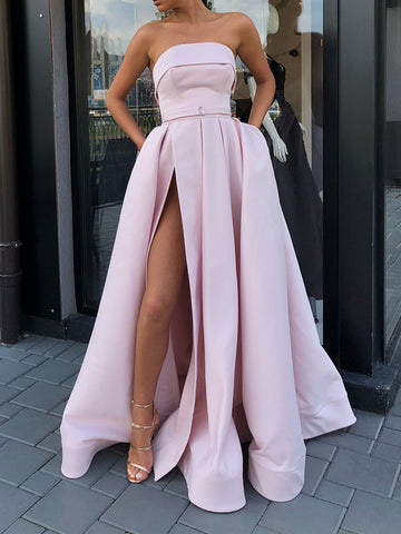 Custom Made Floor Length Prom Dress with Leg Slit, Long Formal Evening Graduation Dresses
