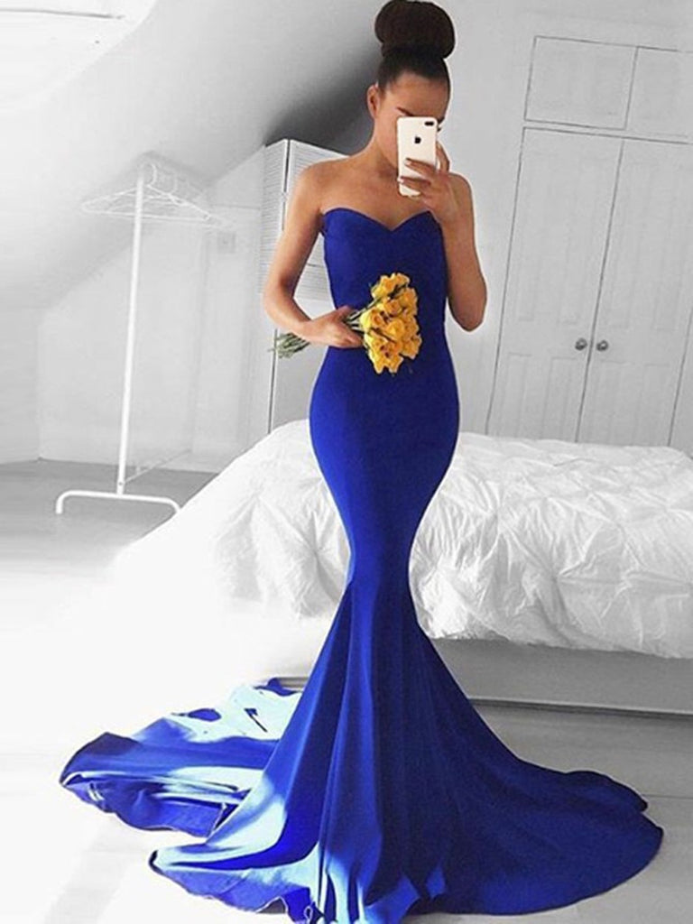 Custom Made Sweethearet Neck Mermaid Royal Blue Prom Dresses, Mermaid Blue Formal Dresses, Graduation Dresses