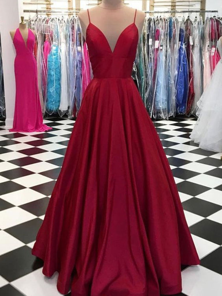 A Line V Neck Simple Burgundy Prom Dresses, Burgundy V Neck Formal Dress, Graduation Dress
